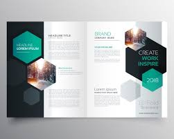 Ebrochure Template Brochure Template With Hexagonal Shapes Vector Free Download