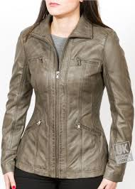 womens vintage grey leather jacket muse hip length front