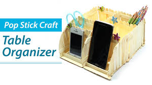 Diy Desk Organizer Popsicle Stick Crafts Diy Desk Organizer Phone Stand Ice Cream