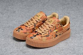 puma shoes rihanna men. men\u0027s/women\u0027s puma by rihanna leather creepers shoes brown orange camo men n