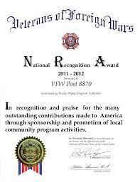 virtual award wall vfw post and auxiliary poppy program 2011 2012