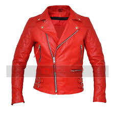 classic diamond red motorcycle jacket