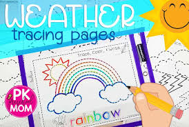 Weather Color Chart Weather Tracing Pages Preschool Mom