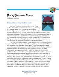 teachers guide young goodman brown young goodman brown by nathaniel hawthorne things to know things to think about like many