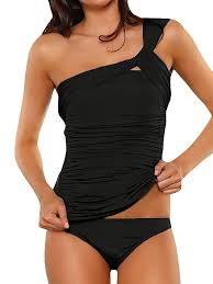 Top1: Aranmei Womenu0027s One Shoulder Tankini Ruched Swimwear Tummy Control  Two Piece Swimsuit