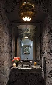 powder room with lotus wallpaper