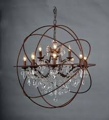 chandelier astounding crystal orb large round brown iron chandeliers and foucaults foucault 44 cry
