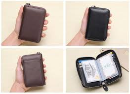 uni men women simple leather cardholder card organizer wallet purse
