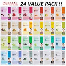 DERMAL 24 Combo Pack <b>Collagen Essence</b> Full <b>Face</b> Facial <b>Mask</b> ...