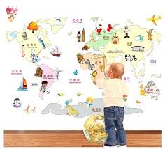 wall map decal creative cartoon animals plant plan world map wall decal sticker for kids room
