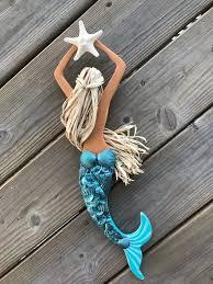 wooden mermaid wall art mermaid decor