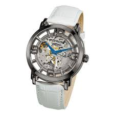 27 best ideas about watches skeleton watches red stuhrling original men s winchester 44 skeleton automatic white gunsmoke stainless steel leather strap watch by stuhrling original