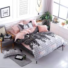 blue pink gray cartoon simple size bedding sets cotton bed sheet duvet cover pillowcase crib du