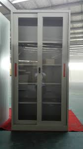 glass steel door swing open steel cupboard cabinet knocked down structure white grey color cam lock