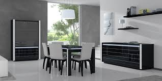 rectangular black polished wooden dining table colorful modern dining room red high gloss dining chair white