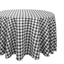 round polyester tablecloth black white checd