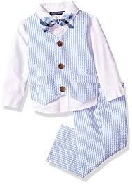 Amazon Com Bonnie Baby Baby Boys Set Blue Seersucker 24m