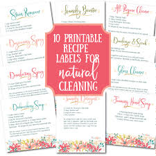 Recipe Labels 10 Recipe Labels For Natural Cleaning Laundry Printable