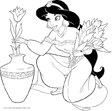 Small Picture Princess Jasmin holding flowers coloring page