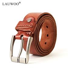breathable solid lauwoo luxury mens vintage genuine leather belt men casual real cowskin soft leather