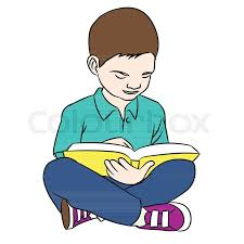 hand drawing a boy reading young boy reading a book sitting on the floor vector ilration stock vector colourbox