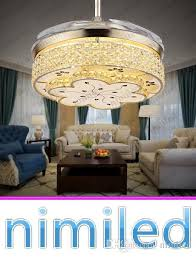 2018 nimi914 invisible living room retractable crystal ceiling fan lights restaurant light bedroom modern luxury chandelier pendant lamps from nimiled
