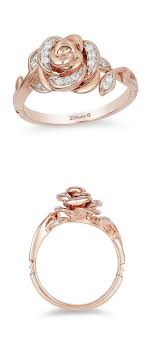 enchanted disney belle 1 10 ct t w diamond rose ring in 10k rose gold