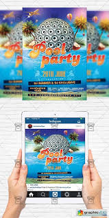 Summer Pool Party Flyer Template Instagram Size Flyer