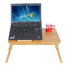 mics 100 bamboo adjule laptop desk table breakfast serving bed tray w tilting top drawer ulld001 ca home kitchen