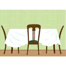 cartoon dining table restaurant table and chairs clipart 45