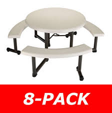 lifetime round picnic tables 2127 44 inch almond top w benches 8 pack intended