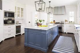 blue kitchen island with calacatta gold extra marble countertops