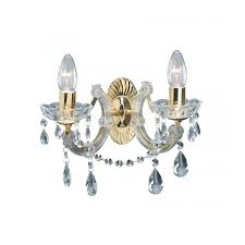 marie therese wall light in gold brass crystal