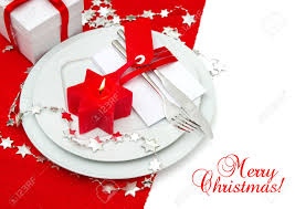Festive Christmas Table Place Setting Decoration In Red And Silver