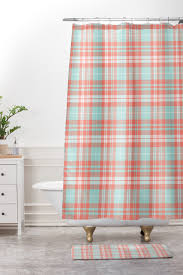 Coral Design Shower Curtain Plaid In Coral And Blue Shower Curtain And Mat Little Arrow