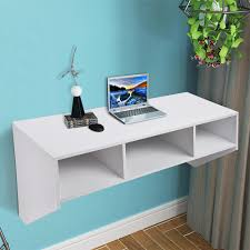 wall mounted floating desk with storage 80lbs weight capacity white 1