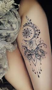Moon Mandala Thigh Tattoo Ideas For Women Ideas Frescas Del