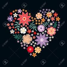 Romantic Embroidery Designs Embroidery Heart From Flowers Romantic Template For Wedding