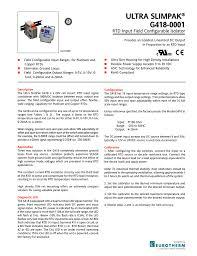 Ultra Slimpak G418 0001 Rtd Input Field Configurable