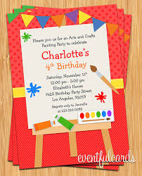 printable invitations for kids art painting birthday party invitation for kids printable artist