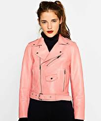 zara pink faux leather short biker jacket with zips m las authentic 3046 221