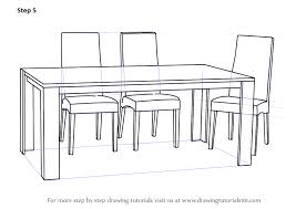 Learn How to Draw Dining Table with Chairs Furniture Step by Step