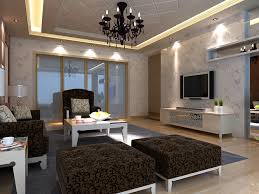 florid drawing room with black chandelier 3d model