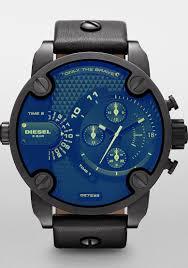 men s watch digital leather strap design diesel men s black leather blue dial analog quartz watch by diesel