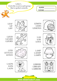 Kids Under 7 Circle The Correct Spelling Of L Words Free Color Word Worksheets For Kindergarten L