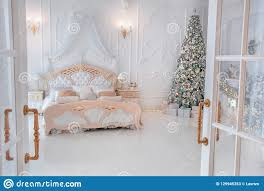 Bedroom Bright Lights Bright White Bedroom Interior With Christmas New Year Tree