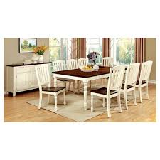 Sun Pine 9pc Cottage Style Dining Table Set WoodVintage White And