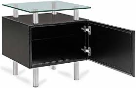 furniture two tier square glass modern end tables with storage