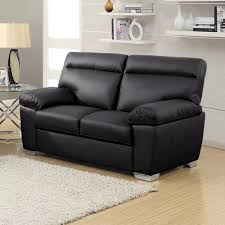 alto 2 seater modern high back sofa in black leather
