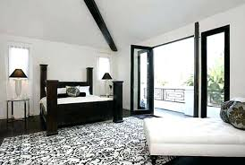 white furry bedroom rugs modern and black fl pattern rug combined with leather tufted chaise